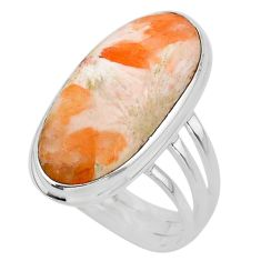 19.48cts solitaire scolecite high vibration crystal silver ring size 10.5 t24647
