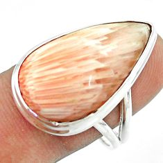 16.19cts solitaire scolecite high vibration crystal silver ring size 8.5 t54229