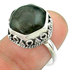 6.02cts solitaire sheen black obsidian 925 silver hexagon ring size 7 t55911