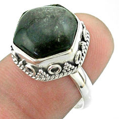 6.34cts solitaire sheen black obsidian 925 silver hexagon ring size 7 t55914