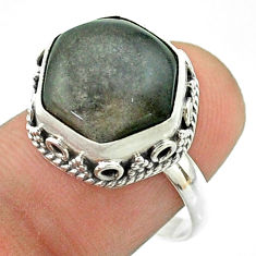 6.04cts solitaire sheen black obsidian 925 silver hexagon ring size 8 t55905