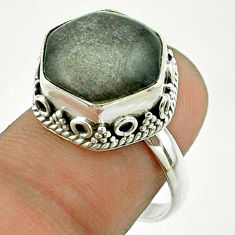 6.04cts solitaire sheen black obsidian 925 silver hexagon ring size 7.5 t55881