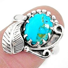 4.30cts solitaire sleeping beauty turquoise 925 silver leaf ring size 6 t6386