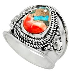 4.38cts solitaire spiny oyster arizona turquoise 925 silver ring size 8.5 r52022
