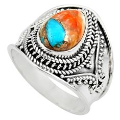 4.21cts solitaire spiny oyster arizona turquoise 925 silver ring size 8.5 r52030