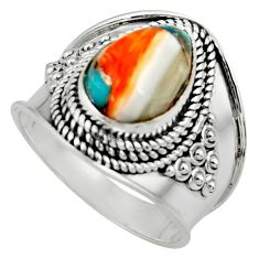 4.38cts solitaire spiny oyster arizona turquoise 925 silver ring size 7.5 r52032