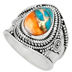 4.70cts solitaire spiny oyster arizona turquoise 925 silver ring size 6.5 r52033
