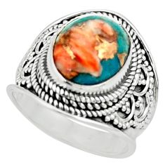 4.82cts solitaire spiny oyster arizona turquoise 925 silver ring size 6.5 r52049