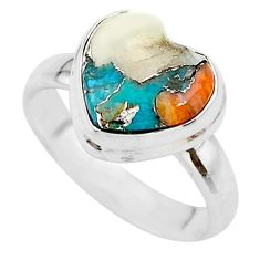 4.43cts heart spiny oyster arizona turquoise 925 silver ring size 6 t21743