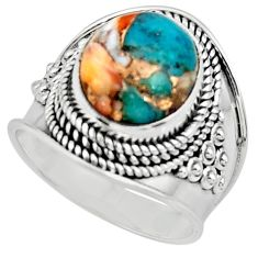 4.82cts solitaire spiny oyster arizona turquoise 925 silver ring size 7 r52052