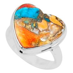 12.36cts solitaire spiny oyster arizona turquoise 925 silver ring size 7 t10315