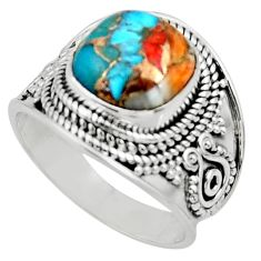 5.25cts solitaire spiny oyster arizona turquoise 925 silver ring size 8 r52037