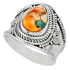4.70cts solitaire spiny oyster arizona turquoise 925 silver ring size 8 r52048