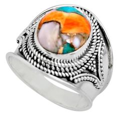 5.18cts solitaire spiny oyster arizona turquoise 925 silver ring size 8 r52053