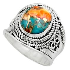 5.35cts solitaire spiny oyster arizona turquoise 925 silver ring size 8 r52060