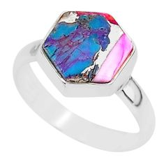 5.23cts solitaire spiny oyster arizona turquoise 925 silver ring size 8 r93401