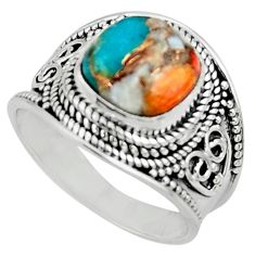 5.42cts solitaire spiny oyster arizona turquoise 925 silver ring size 9 r52023