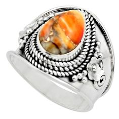 4.71cts solitaire spiny oyster arizona turquoise 925 silver ring size 9 r52050