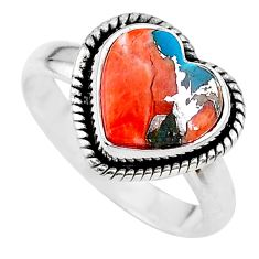 4.82cts heart spiny oyster arizona turquoise 925 silver ring size 7.5 t21746
