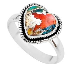 5.10cts spiny oyster arizona turquoise heart silver ring size 9 t21744