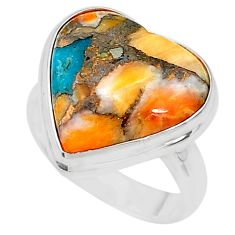 12.83cts solitaire spiny oyster arizona turquoise silver ring size 6.5 t10312