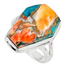 13.15cts solitaire spiny oyster arizona turquoise silver ring size 6.5 t10542