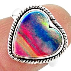 4.05cts solitaire volcano aurora opal (lab) sterling silver ring size 6 t23373
