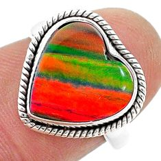 3.83cts solitaire volcano aurora opal (lab) sterling silver ring size 6 t23377