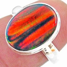 3.77cts solitaire volcano aurora opal (lab) sterling silver ring size 6 t23387