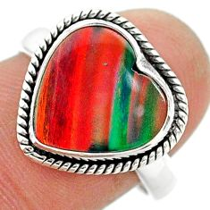 3.98cts solitaire volcano aurora opal (lab) sterling silver ring size 8 t23374