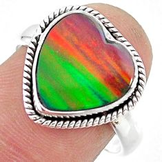 4.26cts solitaire volcano aurora opal (lab) sterling silver ring size 8 t23380