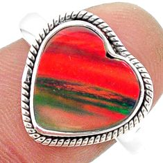 4.26cts solitaire volcano aurora opal (lab) sterling silver ring size 9 t23369