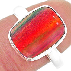 4.42cts solitaire volcano aurora opal (lab) sterling silver ring size 9 t23378