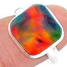 3.73cts solitaire volcano aurora opal (lab) 925 silver ring size 8 t25002