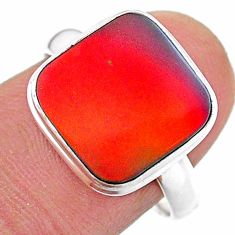 3.73cts solitaire volcano aurora opal (lab) 925 silver ring size 8 t25006