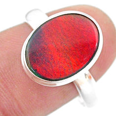 3.87cts solitaire volcano aurora opal (lab) 925 silver ring size 8 t25026