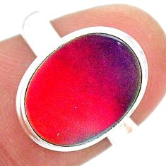 3.87cts solitaire volcano aurora opal (lab) 925 silver ring size 8 t25031