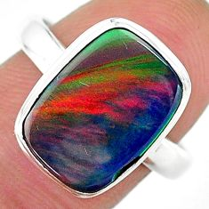 5.64cts solitaire volcano aurora opal (lab) 925 silver ring size 8.5 t16959