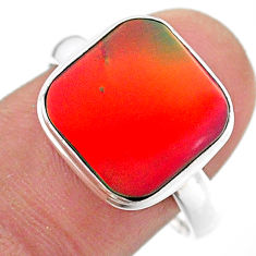 3.51cts solitaire volcano aurora opal (lab) 925 silver ring size 8.5 t25004