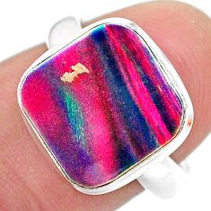 3.50cts solitaire volcano aurora opal (lab) 925 silver ring size 6.5 t25012
