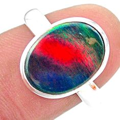 3.65cts solitaire volcano aurora opal (lab) 925 silver ring size 8.5 t25034