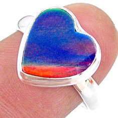 3.73cts solitaire volcano aurora opal (lab) heart 925 silver ring size 8 t25016