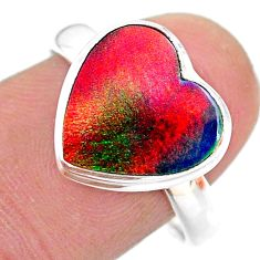 3.71cts solitaire volcano aurora opal (lab) heart 925 silver ring size 9 t25009