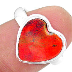 3.73cts solitaire volcano aurora opal (lab) heart silver ring size 7.5 t25013