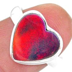 3.85cts solitaire volcano aurora opal (lab) heart silver ring size 7.5 t25024
