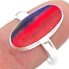 3.93cts solitaire volcano aurora opal lab sterling silver ring size 9 t24985