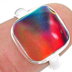 3.32cts solitaire volcano aurora opal lab sterling silver ring size 7.5 t24992