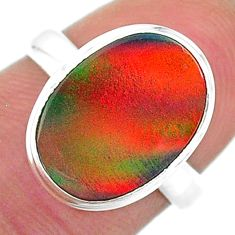 5.14cts solitaire volcano aurora opal (lab) oval silver ring size 6 t16950