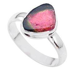 4.69cts solitaire watermelon tourmaline slice 925 silver ring size 10 t46282