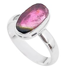 3.97cts solitaire watermelon tourmaline slice 925 silver ring size 7 t46292